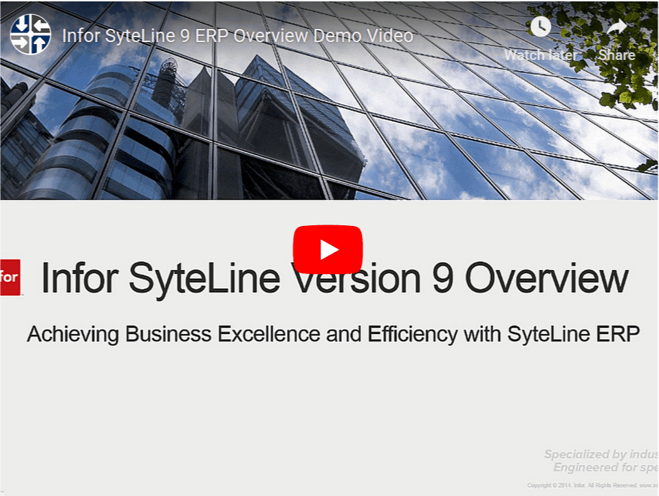SyteLine Version 9 demo video image