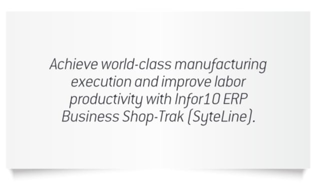 Infor Syteline Shop-Trak benefits