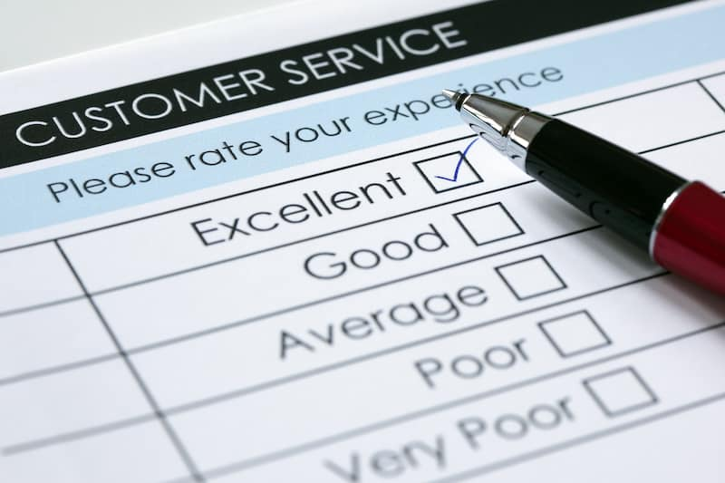 Cutomer service satisfaction survey with a pen
