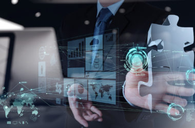 double exposure of businessman hand working with computer interface show puzzles as partnership concept