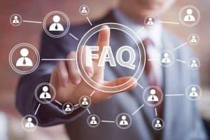 FAQ AI Graphic businessman selecting FAQ