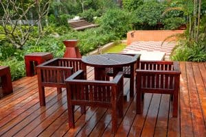 Outdoor patio furniture set, wooden table and chairs