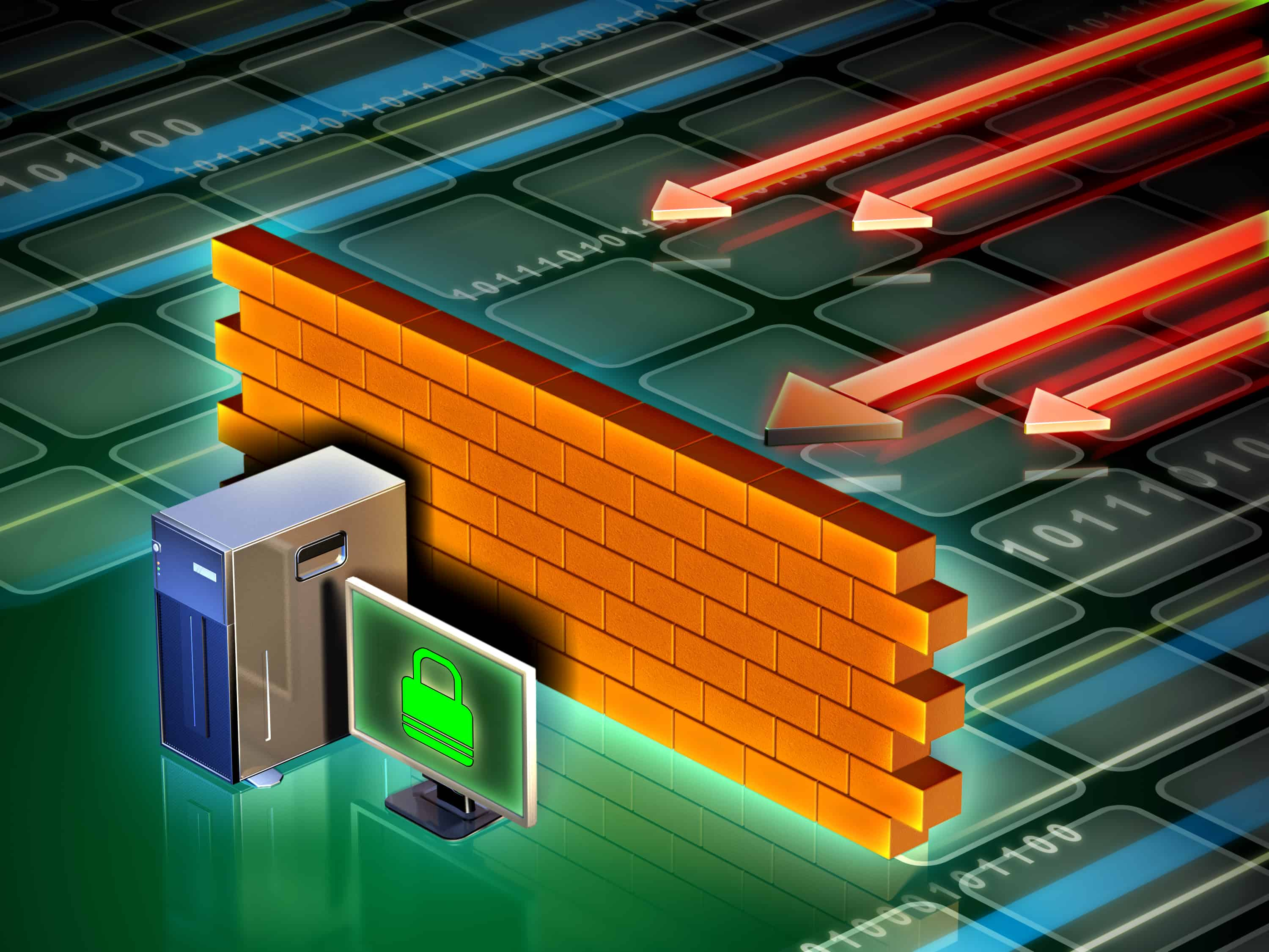 Illustration of a computer firewall