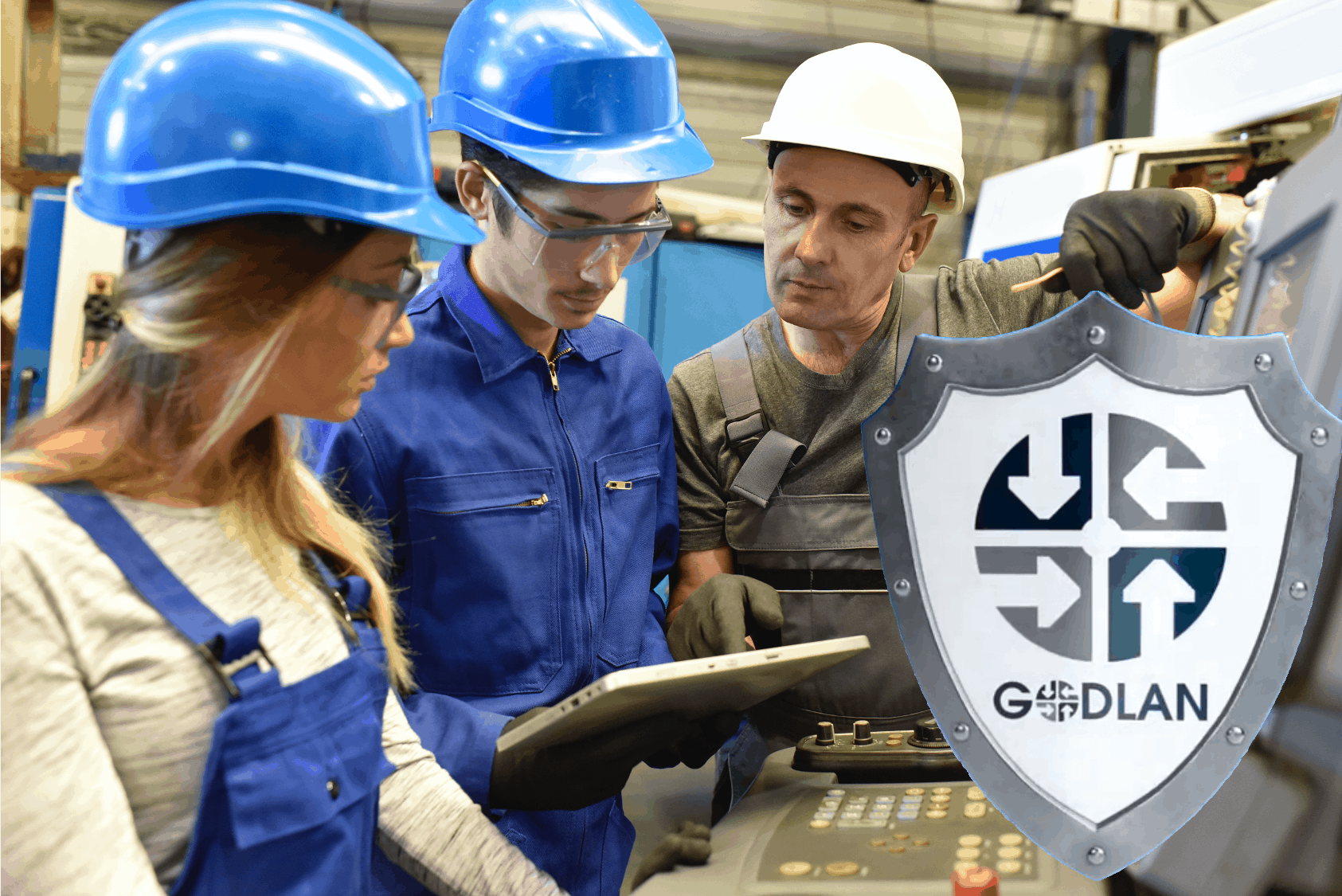 Godlan Shield with Factory Workers