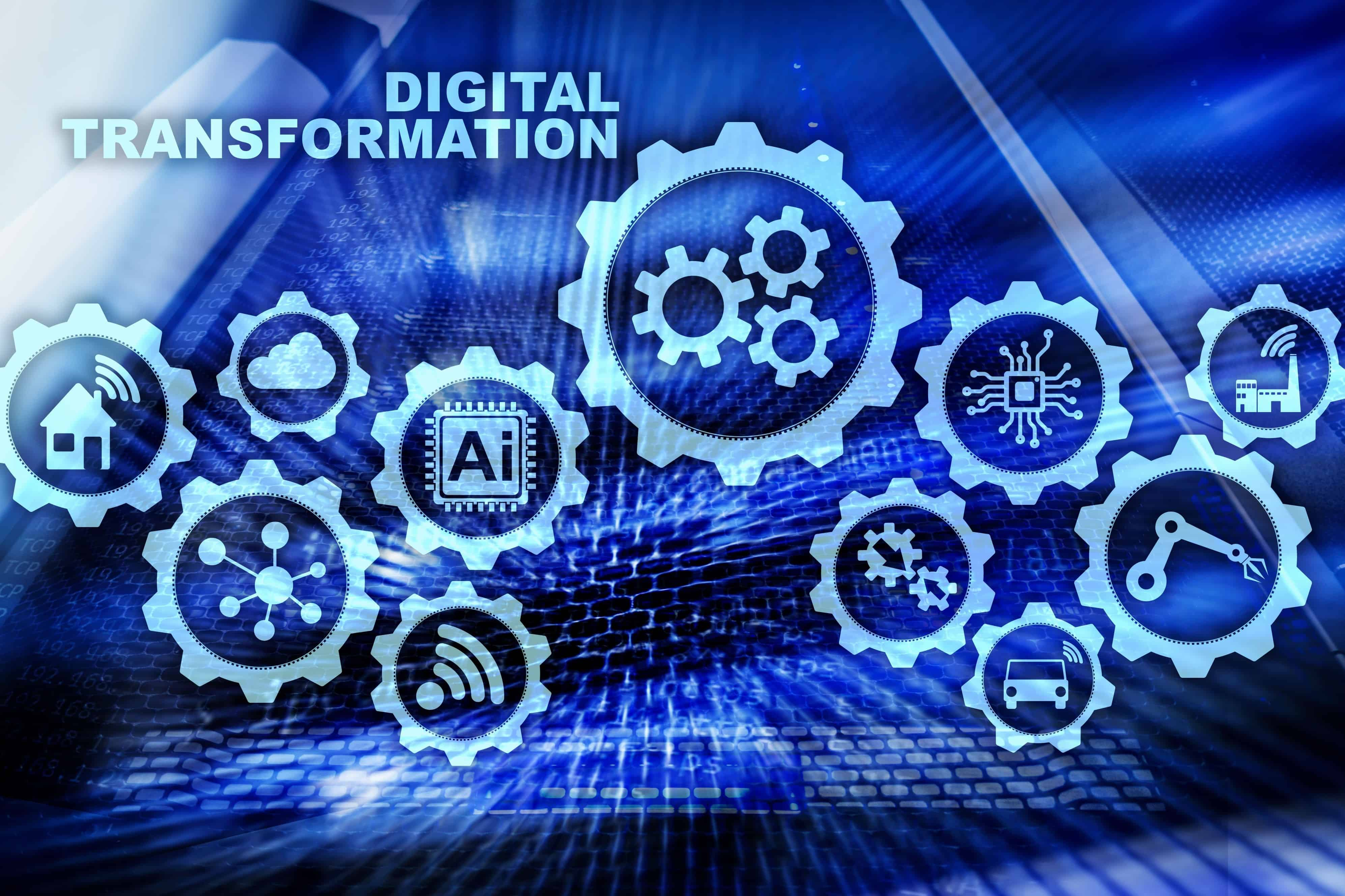 Digital Transformation Concept of digitalization of technology business processes. Datacenter background